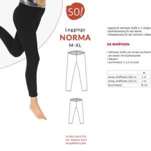 Leggings NORMA (M-XL) – Papierschnitt