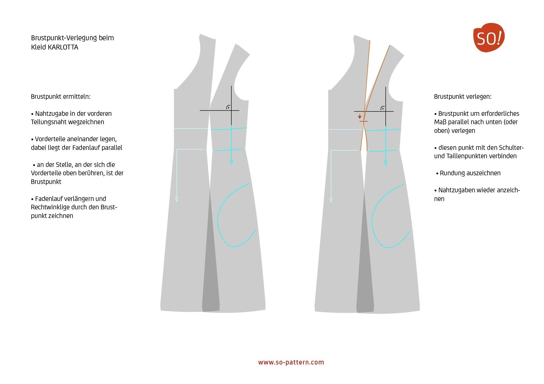schnitt anpassen bei kleid karlotta – so pattern
