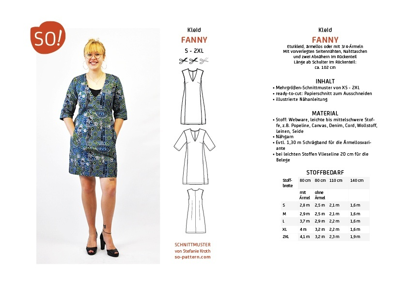 Kleid FANNY / S - 2XL - SO Pattern