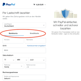 Bezahlung per Lastschrift ohne Paypalkonto