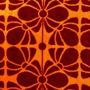 Velour-Frottier Flowers Bordeaux-Orange